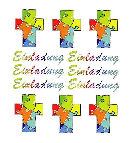 ABVERKAUF 1 Sticker Bogen für Kommunion, Firmung; Aufkleber zum Selbermachen von Einladungen Größe Kreuz: 3,6 x 4,7 cm; Text Einladung: 6,5 x 1,5 cm Einladungskarte selbermachen basteln