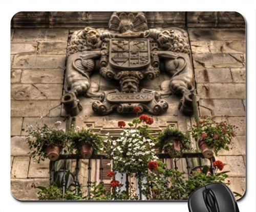 wonderful relief above a window in basque country Mouse Pad/Mouse Mat, Mousepad (Black Country Windows)