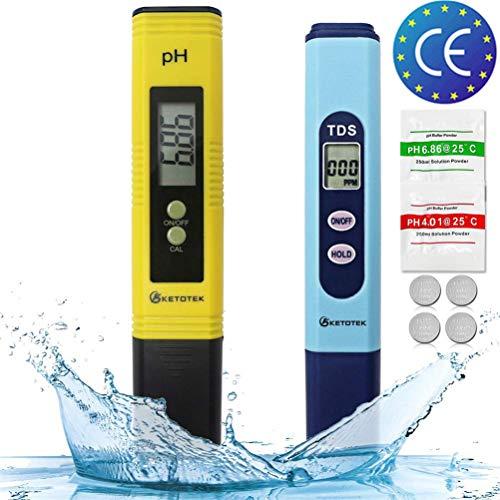 KETOTEK PH Messgerät Digital Wassertester Wasserqualität TDS PH-Teststift Wasserpflege 0-14PH Wasser Messen Tragbar PH Instrument LR44 Batterie Enthalten (PH+TDS) (Ph-bier)