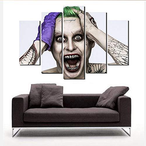 Zemer stampa su tela, 5 pezzi set joker movie poster modern home decorazione parete immagine art hd stampa pittura su tela per soggiorno senza cornice,e