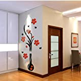 Wandsticker Xinan DIY Vase Blumen Baum Kristalle Arcylic 3D Mauer Aufkleber Dekor