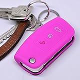 Soft Case Schutz Hülle Auto Schlüssel FORD Focus Fiesta Ecosport S-Max Kuga C-Max Klappschlüssel Remote / Farbe: Pink