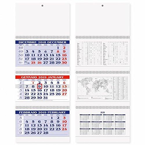 Calendario murale Trittico 2019 a 3 spirali a strappo 31x80 - calendario 3 mesi