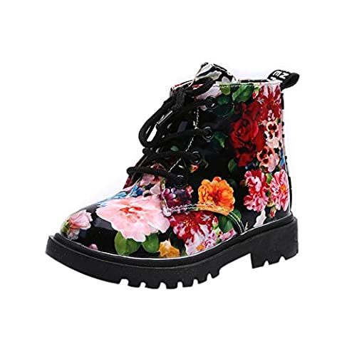 Moonuy Kids Girls Shoes,Fashion Floral Casual Patent leather Martin Boots (26, Black)