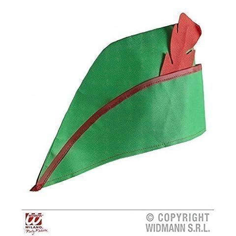 Kostümzubehör Jäger / Bandit Hut in grün mit Kunststoff - Feder