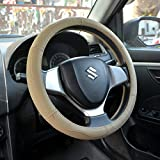 #3: OSHOTTO 100% Genuine Leather Car Steering Cover Beige Colour for Mahindra Scorpio