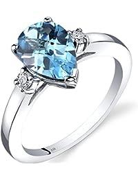 Revoni 14ct White Gold Swiss Blue Topaz Diamond Tear Drop Ring 2.25 Carat