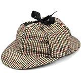 Sherlock Holmes tweed deerstalker hat with two peaks and ear flaps