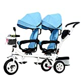 CHEERALL Bambini 4 in 1 Trike Doppio Bambino Leggero 3 Ruote Triciclo Bici con...