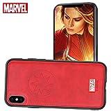 FASTER Coque iPhone XS Max Etui en Cuir Marvel Avengers Housses de Protection 3D Premium Résistant aux Rayures (Rouge Captain Marvel)