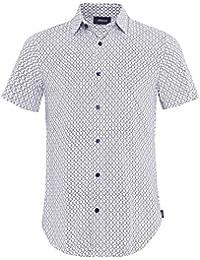 Armani Jeans Hommes Chemise Slim Fit manches courtes Viscose Blanc