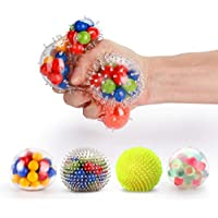 Fansteck Anti Stress Ball 4 Pack, Cool Squeeze Ball, Colorful Squishy Ball, Silicone Sensory Ball Multiple Styles, Soft Spikes, Anxiety Relief Toy for Exercising and Strengthening Hand and Wrist