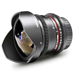 Walimex Pro 8mm 1:3,8 VDSLR Fish-Eye II Objektiv Foto&Video für Nikon F Objektivbajonett schwarz (manueller Fokus,für APS-C Sensor gerechnet,stufenlose Blendeneinstellung,abnehmbarer Gegenlichtblende)