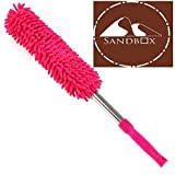 Sandbox- Reusable/Washable Microfiber Duster with EXTENDABLE Telescopic and Wall Hanging Handle - For Dusting/ Cleaning Household, Offices, Cars, Window, Furniture, etc.