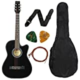 #1: Juârez Acoustic Guitar, 38 Inch Cutaway, 038C with Bag, Strings, Pick and Strap, Black