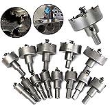 NUZAMAS Set von 13 Lochsäge Set Metallkern Bohrer 16-53mm Wolfram Stahl Cutter Tool Kits für Edelstahl Eisenplatte Kupfer Holz
