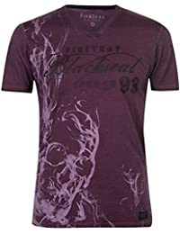 Firetrap Mens Blackseal Skull Smoke T Shirt V Neck Tee Top Short Sleeve Cotton