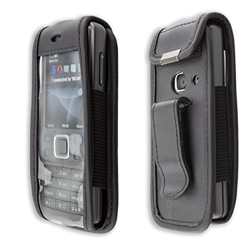 caseroxx Handy-Tasche Ledertasche mit Gürtelclip für Nokia 6300 aus Echtleder, Handyhülle für Gürtel (mit Sichtfenster aus schmutzabweisender Klarsichtfolie in schwarz)