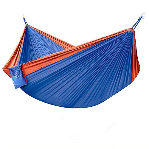 Portable Camping Hammock - Double/Single Indoor Outdoor Tree Hammock with Bug Insect Net, 2 Hanging Straps, Lightweight Nylon Parachute Hammocks for Backpacking, Travel, Beach, Backyard, Hiking