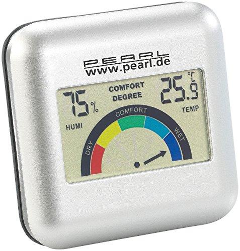 PEARL Luftfeuchtigkeitsmesser: Digitales Hygrometer mit Thermometer mit grafischer Anzeige (Raumthermometer)