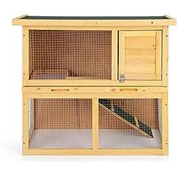 iKayaa AB2005 - Jaula doble de madera de abeto para conejos gallinas patos cuyes hurón u otras aves de corral,35 pulgadas