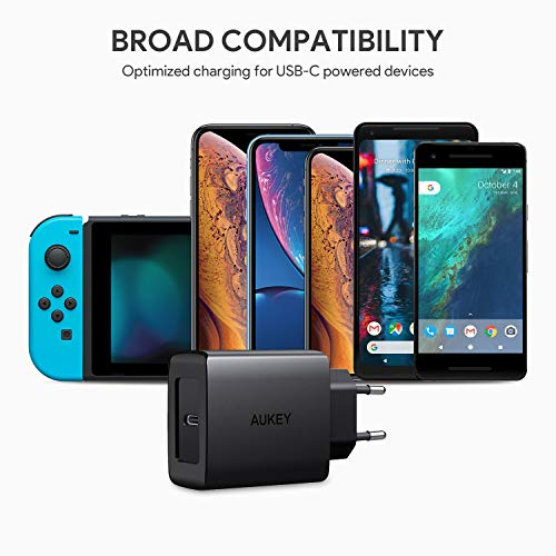 AUKEY USB C Caricabatteria da Muro con Power Delivery 3.0 18W Caricatore USB per Samsung Galaxy S8 / S8+ / Note8, Nexus 5X / 6P, LG G5 / G6, iPhone XS / XS Max / XR, Nintendo Switch ecc.