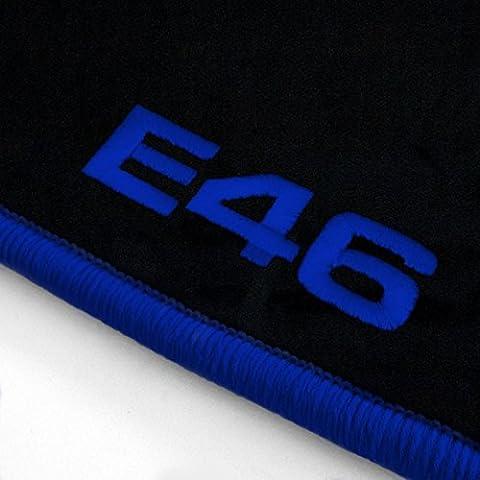(29 verschiedene Farben Q300) Passgenaue Velours Fußmatten mit Stick (E46) und Rand in Royalblau für BMW 3er E46 Coupe Baujahr (2005 Bmw 3er Coupé)