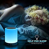 LED Touch Bedside Lamp - Elecstars Bluetooth Speaker, Dimmable Colour Night Light, Outdoor Table Lamp with Smart Touch Control, Best Gifts for Women Men Teens Kids Children Sleeping Aid (White)