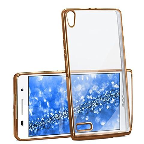 Huawei P6 Hülle Silikon Transparent Gold [OneFlow Chrom Back-Cover] Silikonhülle Dünn Schutzhülle Handyhülle für Huawei Ascend P6 Case Ultra-Slim Tasche TPU