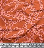 Soimoi Orange Viskose Chiffon Stoff Kette geometrisch Stoff