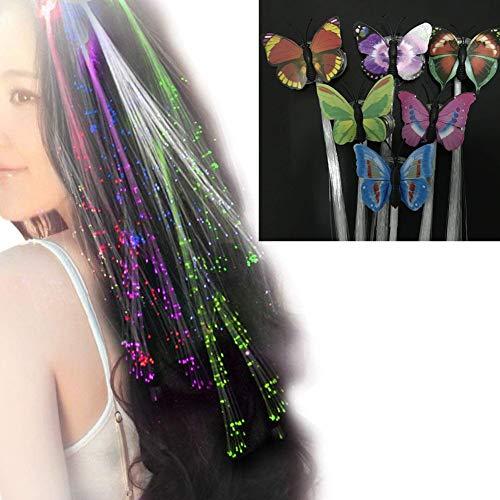 San Jison 6 pcs LED Haar Lichter, blinkende Haar Schmetterling für Frauen Mädchen Braid Haarnadel Clip Dekor Multicolor Glasfaser Light-Up Haarspange (blinkende Farben) (Blinkende Licht Auf Clip)