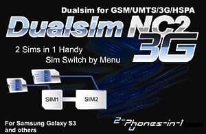 Entrambi i Telefoni 2in 12in1nc2s33G Dual SIM Adattatore per Samsung Galaxy S3