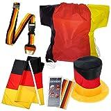 elasto Fußball WM 2018 Fanset Deluxe 5-Teilige Deutschland Fanpaket mit Kuh-Glocke Schlüsselband Fanhut Fahne Fantape im Sportbeutel