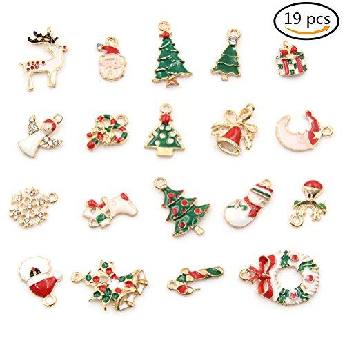 19PCS gemischt Emaille Weihnachten Charms Anhänger DIY Weihnachts Schmuck Geschenke Dekorationen Xmas Tree Schneemann Holly Hirsch von wetrys