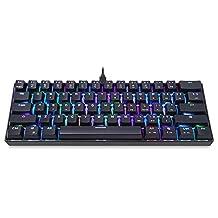 Docooler MOTOSPEED CK61 mechanisch toetsenbord voor games RGB blauwe schakelaar OUTMU toetsenbord 61 toetsen Anti-Efect Fantasma met achtergrondverlichting voor games zwart