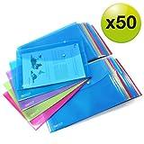 Rapesco 1495 Pack de 50 Pochettes Porte-document Couleurs Vives Transparentes