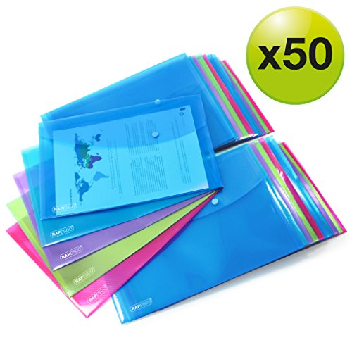 Rapesco cartelle a busta portadocumenti, trasparenti colorati, A4+ protocollo, 354mm x 243mm (colori assortiti)