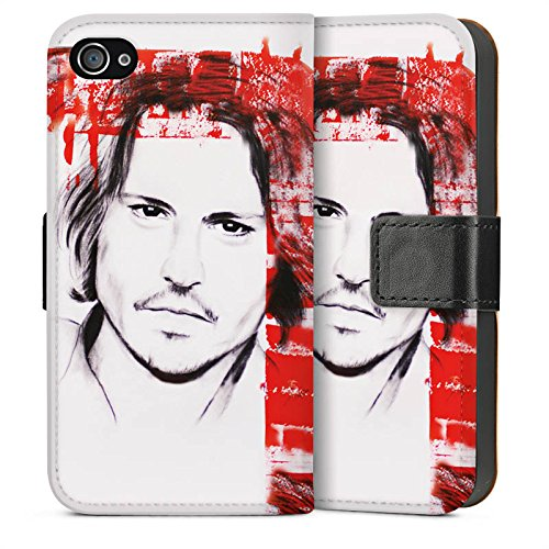 Apple iPhone 5 Housse Étui Protection Coque Johnny Depp Visage Dessin Sideflip Sac