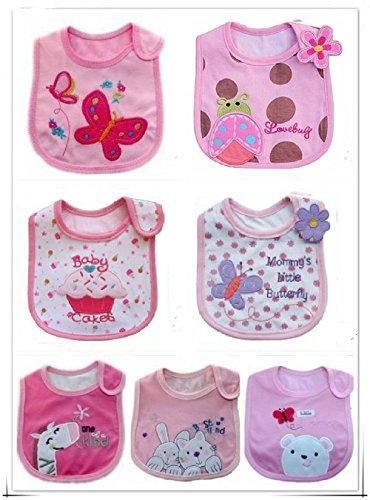 Babylätzchen für Mädchen, voll gefüttert, Baumwolle mit wasserdichter PVC-Innenseite, 0-3 Jahre, 7 Stück