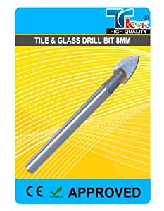 TK9K ®-Accessoires pour outillage électroportatif perceuse carrelage & vitrage & Foret pour carrelage en carbure de tungstène 8 mm tipped. pour percer le carrelage céramique, le verre et les miroirs.