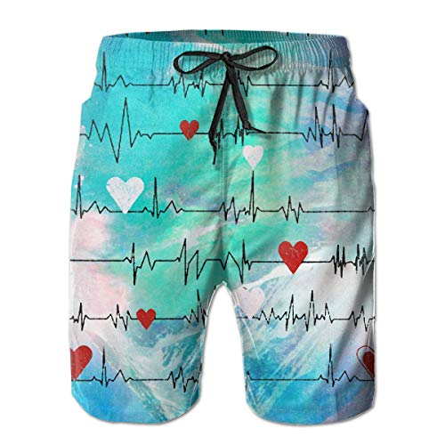 Pikante Mesh (Osmykqe Nurses Heart Beat Men's Quick Dry Drawstring Waist Swim Trunks Board Kurze Hose with Mesh Lining)