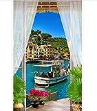 Poster Sticker De Porte Herbe Maison Balcon 3D Vue Sur La Mer Yacht Papier Peint 3D Photo Mural 77X200Cm