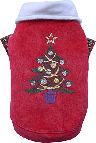 Doggy Dolly ST010 Fleece Pullover für Hunde mit Kragen Weihnachtsbaum, rot, Größe : XL (Fleece Brust-kragen)