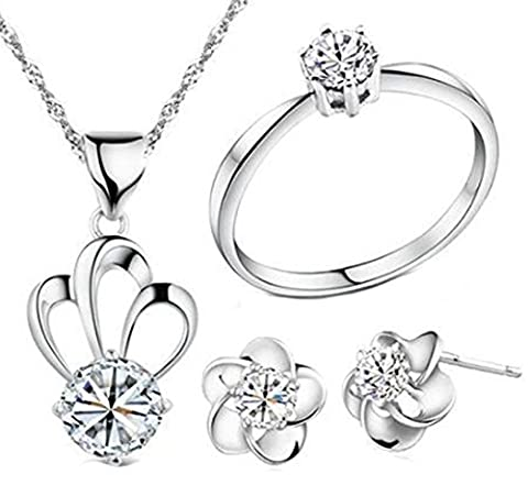 SaySure - Rings Necklace Stud Earrings Female Silver Plated