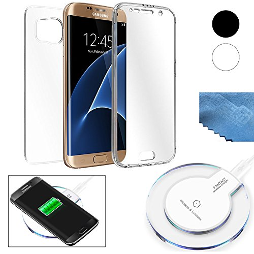 EEEKit 2 in 1 Charger Kit for Samsung Galaxy S7 Edge, QI Wireless Power Charger Charging Pad, Crystal Clear Cover Full Body Protect Case (White for S7 Edge) - Kit Idle