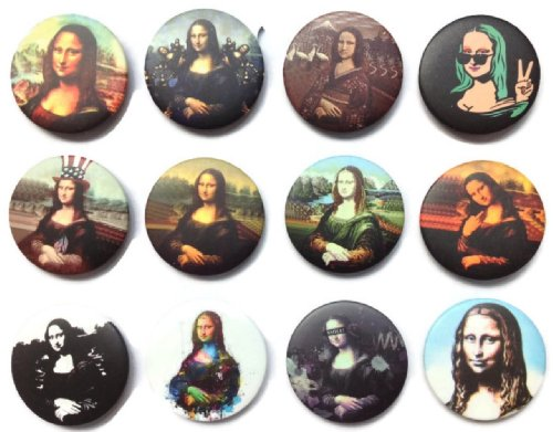 Mona lisa smile painting awesome qualità nuovo lotto 12pin pinback button badge 3,2cm