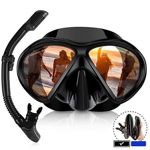 Schnorchel Set mit,Gehärtetes Glas und Full-Dry Top Schnorchel, Anti-Fog-Tauchmaske Panorama-Tauchermaske mit,Black