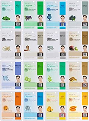 Dermal Korea Collagen Essence Full Face Facial Mask Sheet, 16 Combo Pack by Dermal Korea