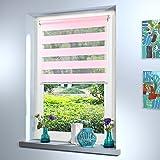 SUNWORLD Doppelrollo nach Maß, hochqualitative Wertarbeit, alle Größen und 18 Farben verfügbar, Rollo nach Maß, Duo Rollo, für Fenster und Türen, Klemmfix ohne Bohren (100cm Höhe x 95cm Breite/Rosa)