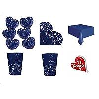 Cdc - kit n°8 Coordinato Love Message - San Valentino Amore da tavola per festa e party ed ogni ricorrenza - ( 6 piatti, 8 bicchieri , 16 tovaglioli,1 Tovaglia, 1 Scritta personalizzata